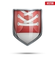 Bright shield in the running shoes inside vector image