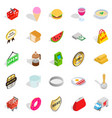 eatery icons set isometric style vector image