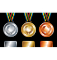 Gold silver and bronze medals background vector image