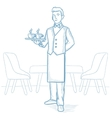 Waiter holding tray with cups of coffeee or tea vector image