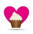 heart cartoon sweet cup cake chip candy icon vector image