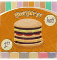 Vintage background with the image of big hamburger vector image vector image