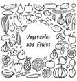 doodle vegetarian food frame vector image