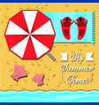 set summer icon over sand and beach vector image
