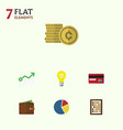 Flat icon incoming set of graph cash billfold vector image