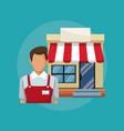 color background with salesman and facade store vector image