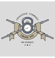 Training on time Fitness emblem vector image