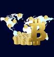 bitcoin around the world flat style design vector image