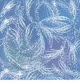 Snowy gleaming frozen pattern on blue window vector image