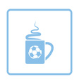 Football fans coffee cup with smoke icon vector image