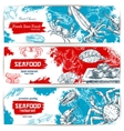 Fresh seafood and fish food sketch banners vector image