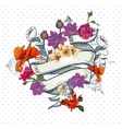 Vintage Floral Card with Ribbon vector image