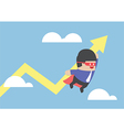 Super businessman carrying growing graph vector image