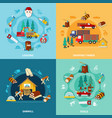lumberjack square icon set vector image