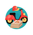 pizza courier profession icon motobike cap and vector image