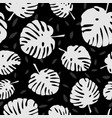 tile tropical pattern with black exotic leaves vector image