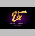 vx v x 3d gold golden alphabet letter metal logo vector image