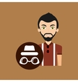 young hipster man sunglasses trendy hat vector image