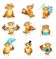 Cute Brown Owl Everyday Activities Icon Set vector image