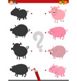 shadow activity with pigs vector image vector image