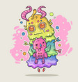 the monster keeps a small creature cartoon vector image vector image