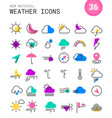weather line thin icons vector image