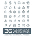 All Kinds of Wedding Marriage or Bridal Icons Set vector image