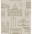 background with Rome landmarks and symbols vector image