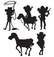 Black sketches of people from the wild West vector image