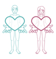 Boy and girl are holding hearts vector image