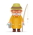 Old Fisherman Grandfather 3d Realistic Cartoon vector image