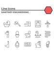 Sanitary engineering flat icon set vector image