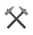 two hammers crossed with each other vector image