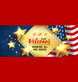 veterans day greeting card horizontal banner with vector image