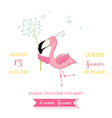 Baby Shower or Arrival Card - Baby Flamingo Girl vector image