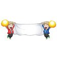 Two boys holding an empty banner vector image