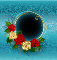 round banner with roses on a blue background vector image