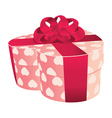 Heart shaped pink gift box vector image