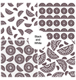 Abstract black and white seamless patterns set vector image