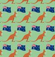 Kangaroos and Australian flag seamless pattern vector image