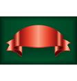 Red ribbon satin bow blank banner green vector image