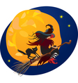 Halloween night - witch and black cat vector image