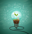 Green seedlings in a light bulb ecology vector image