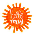 hello may card with vintage sunburst and hand vector image
