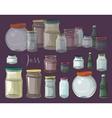 Set of empty jars vector image