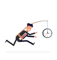 Businessman or tied clock manager runs the time vector image