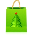 Green Christmas paper bag with fir tree vector image vector image