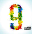 Color paint splashes Gradient Number 9 vector image