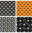 Skulls seamless patterns set vector image