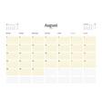 Calendar Template for August 2016 Week Starts vector image